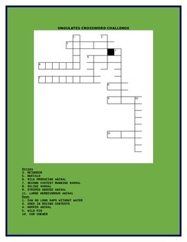 UNGULATES CROSSWORD CHALLENGE!  GRADES 6-12