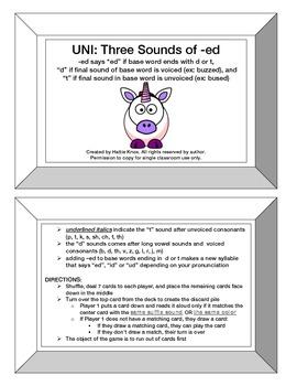 "UNI: 3 Sounds of -ed Game (""ed"", ""d"" & ""t"")- Orton Gilling"