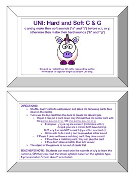 UNI: Hard/Soft C & G Sounds- Orton Gillingham Phonics/Reading