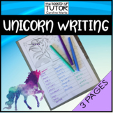 {UNICORN writing} {CREATIVE WRITING} {NOUNS VERBS ADJECTIVES worksheets}
