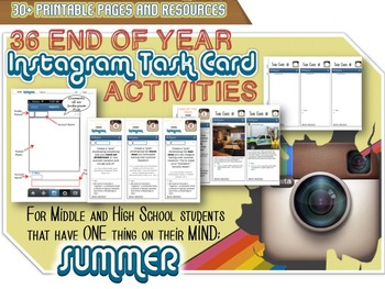 """UNIQUE End of Year """"Instagram"""" Task Cards - Student Favorite - Print and Go"""