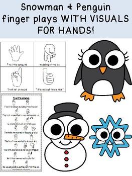UNIQUE FINGER PLAYS with VISUALS for 5 little penguins and 5 little snowmen!
