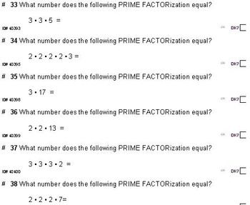 DRILLS (to replace flashcards): Prime Factorization FOR ALL GRADES (50 pgs)