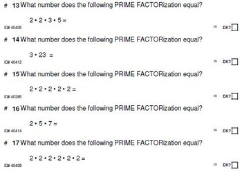DRILLS (to replace flashcards): Prime Factorization FOR AL