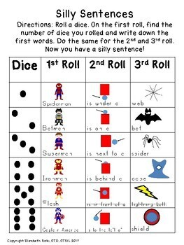 UNIQUE Roll a dice SILLY SENTENCES WITH VISUALS & HANDWRITING!  k12345