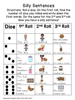 SET 2: Roll a dice SILLY SENTENCES WITH VISUALS & HANDWRITING! k12345