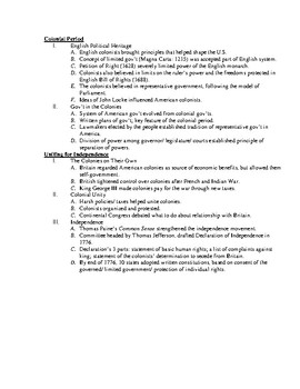 Government/Civics: UNIT 1 Lecture Notes and Test * FULL UNIT *