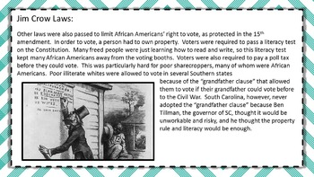 UNIT 11: 19th & 20th CENTURY IN SC: PowerPoint, Guided Notes, Activity Pages
