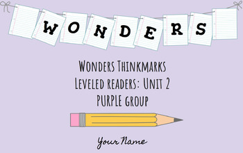 UNIT 2 (PURPLE Group) Wonders Leveled Readers DIGITAL Text Responses - Grade 5