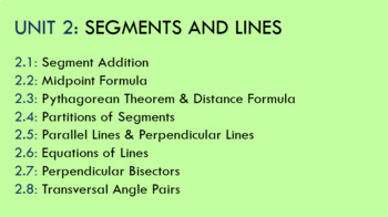 UNIT 2: SEGMENTS & LINES POWERPOINT
