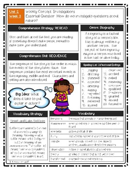 UNIT 2 Wonders Reading Grade 5 Weekly Newsletters