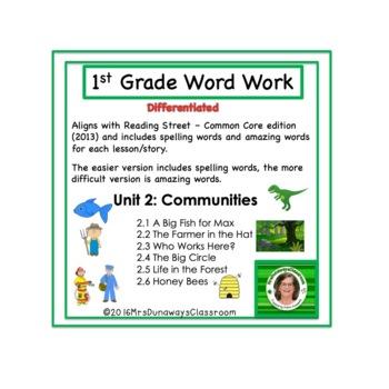 UNIT 2 Word Work  for Reading Street - Gr. 1