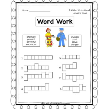 UNIT 2 Word Work  for Reading Street - Gr. 1