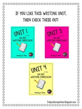 UNIT 2 of the Common Core Aligned Writing Curriculum Bundle - Year Long Plans