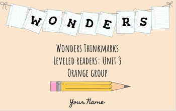 UNIT 3 (ORANGE Group) Wonders Leveled Readers DIGITAL Text Responses - Grade 5