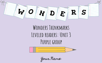UNIT 3 (PURPLE Group) Wonders Leveled Readers DIGITAL Text Responses - Grade 5