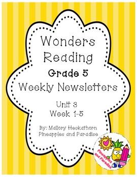 UNIT 3 Wonders Reading Grade 5 Weekly Newsletters