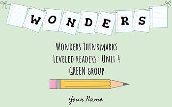 UNIT 4 (GREEN Group) Wonders Leveled Readers DIGITAL Text Responses - Grade 5