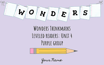 UNIT 4 (PURPLE Group) Wonders Leveled Readers DIGITAL Text Responses - Grade 5