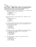 """UNIT 5 Exam – """"Bigger, Better, Faster: The Changing Nation"""""""