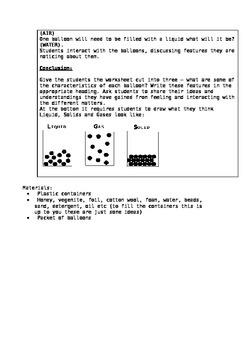 UNIT PLAN: Solids, Liquids, Gases - GRADE 5/6