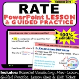 UNIT RATE, UNIT PRICE, EQUIVALENT RATE PowerPoint Lesson &