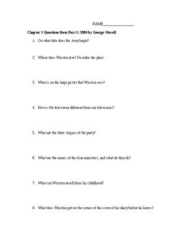 UNIT on George Orwell's 1984 Questions, Essay, Test
