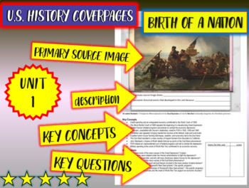 UNIT1: BIRTH OF A NATION - a U.S. History coverpage handout to frame each unit
