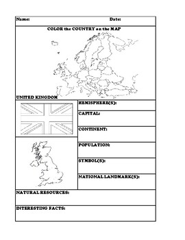 UNITED KINGDOM COUNTRY RESEARCH WORKSHEET