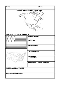 UNITED STATES OF AMERICA COUNTRY RESEARCH WORKSHEET