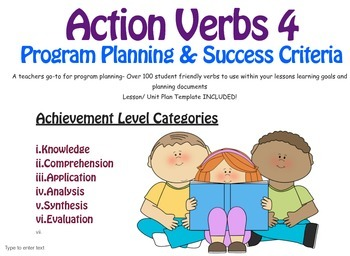 UNIT/LESSON Planning with 150 Verbs for success criteria