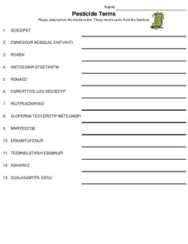 Extension Fact Page Worksheet: Understanding the Pesticide Label