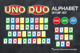 UNO Alphabet birthday clip art, DUO clip art, Spanish letters included, png