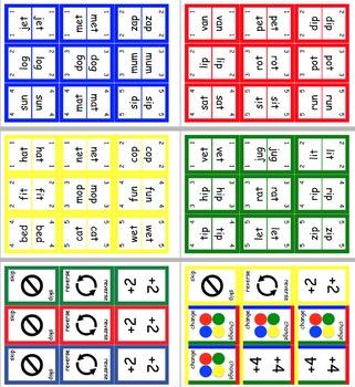 UNO Style CVC Literacy Word Card Game