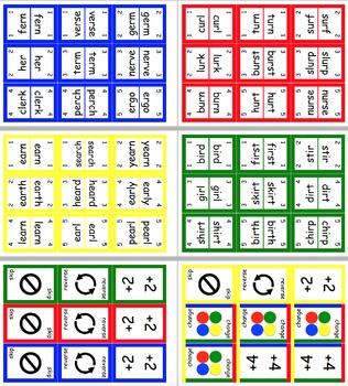 UNO Style ER Words Literacy Word Card Game - er ir ur ear