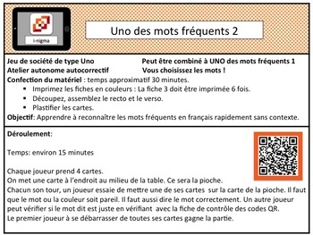 UNO des mots fréquents 2     (Sight words in french)