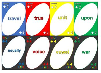 UNO-type Game for Fry's Sight Words (Group 4)