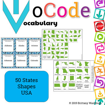 UNPLUGGED CODING IN Social Studies -  50 State Shapes USA