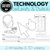 UNPLUGGED Technology Coloring Sheets & Tracing Writing Pra