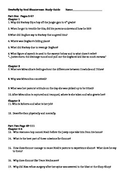 UNWHOLLY BY NEAL SHUSTERMAN STUDY-GUIDE QUESTIONS