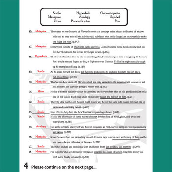 Figurative language review worksheet answer key
