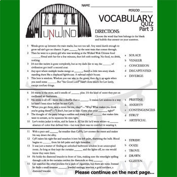 UNWIND Vocabulary List and Quiz (30 words, Part 3)