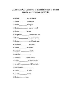 SPANISH PRETERITE ACTIVITIES-UP Movie Scenes Activities- review and practice