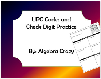 UPC Codes and Check Digit Practice