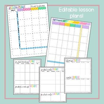 2017-2018 Editable Teacher Planning  Binder {Pastel Candy Color Design}