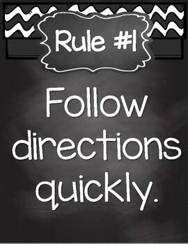 UPDATED! Burlap & Chalkboard Whole Brain Teaching Rules Posters