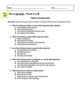 UPDATED Chains (Laurie Halse Anderson) Ch 16 Lesson Plan, Exit Slip, Classwork