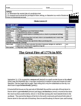 UPDATED Chains (Laurie Halse Anderson) NF Lesson - Great Fire of NY + Ch 34 HW