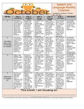 UPDATED: October Language Calendar - Editable!