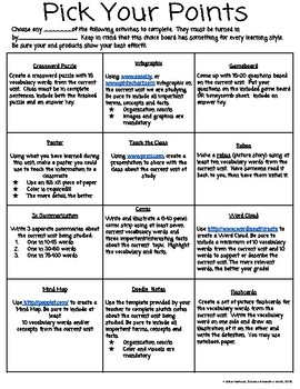 UPDATED!!!! Pick Your Points Student Choice Activities for Any Subject